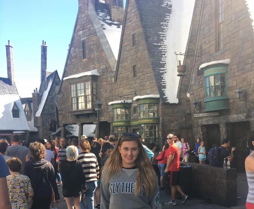 This is me at Harry Potter World and Harry Potter World makes me very happy.