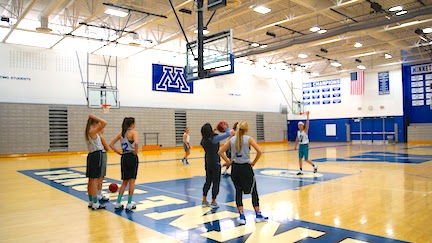 The girls practice after school in the West Gym.