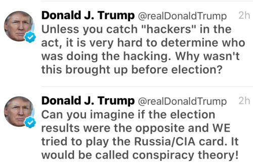 Donald Trump responded over Twitter to the CIA's conclusion that Russia meddled in the US elections.
